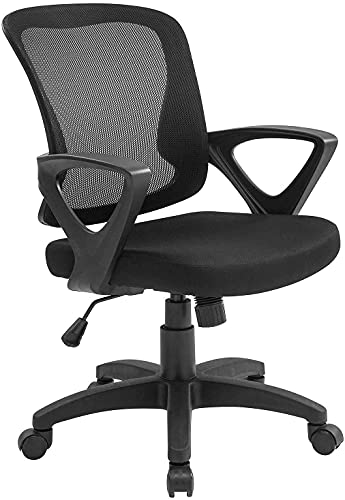 RYANGEL Home Office Chair Ergonomic Desk Chair Adjustable Height Modern Mid Back Swivel Chair for Small Place, Black Office Chairs