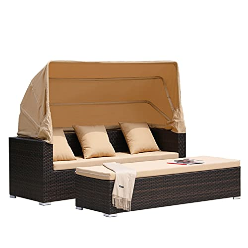 Outdoor Sofa Wicker Rattan Chair with Footstool Set - All Weather Daybed Sofa Furniture - Patio Recliner with Retractable Canopy - Balcony Bed Lounge for Patio Lawn Garden Backyard Swimming Pool