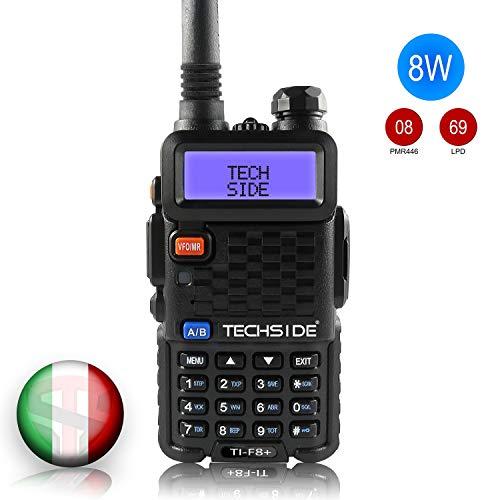 TECHSIDE MOD. PIU' POTENTE 8W | Tri-Power | Radio TI-F8+ Dual Band Vhf/Uhf | COMPATIBILE BAOFENG canali PREINSTALLATI MIDLAND G7 Pro G9 PMR446 LPD SoftAir Vigilanza Trekking | Accessori| Garanzia ITA