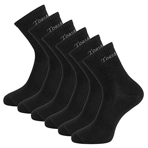 Toes&Feet 6 Paar Laufsocken Antibakterielle Sportsocken Arbeitssocken mit Titaniumfaser Amungsaktiv Trekkingsocken Damen und Herren, Schwarz, 38-46
