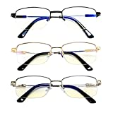 Goosen 3-Pack Titanium Metal Half Frame Reading Glasses For Men Women Blue Light Blocking, Super Lightweight Flexible Adjustable Arms Readers Such As Spring Hinge Fit Most Face Shapes, Classic Fashion Style Computer Eyeglasses Anti Glare UV Ray Filter (Colorful Black Gold Silver Set 3.0 x)