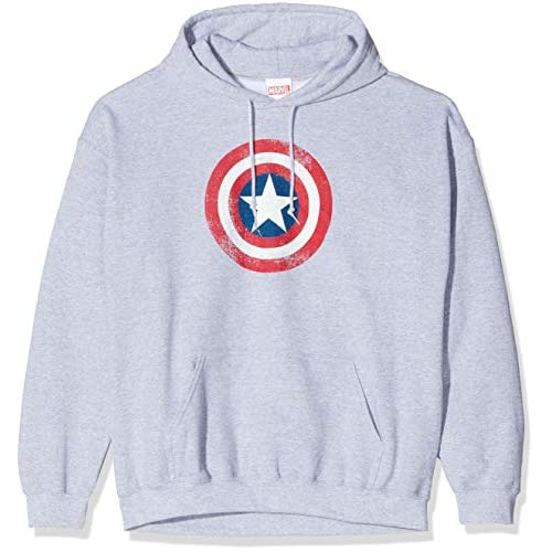 Marvel Avengers Captain America Distressed Shield Felpa, Grigio (Sports Grey Sp Gry), X-Large Uomo