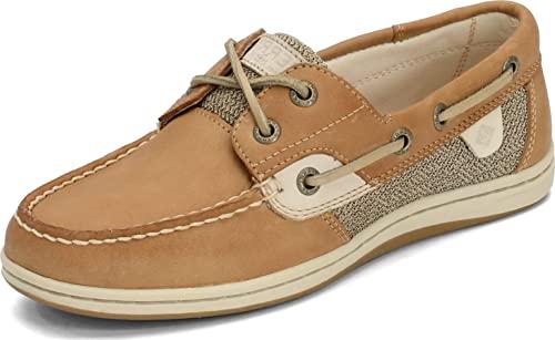 Sperry Womens Koifish Boat Shoe, Linen/Oat, 9 Narrow