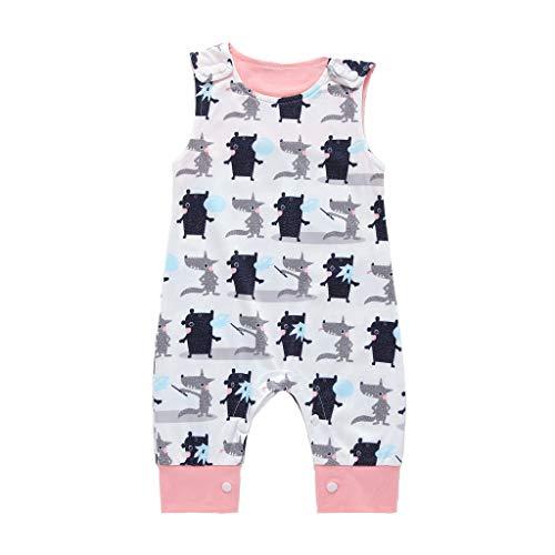MAYOGO Monos bebé Niño Bodies Bebe Niño sin Manga Pelele Pijama ImpresióN De Dibujos Animado Ropa de Bebe Niño Recién Nacido bebé Body Bebe Disfraz de Dormir Verano Bebe 0-2 Años