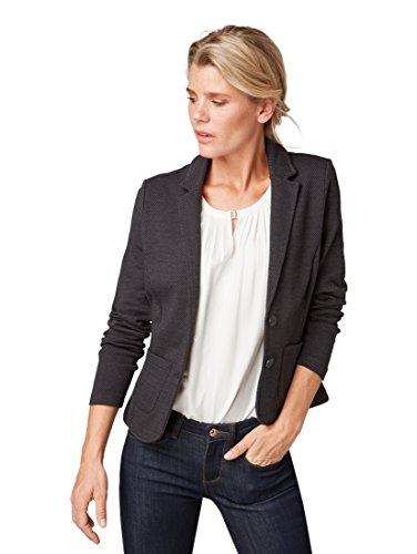 TOM TAILOR Damen femininer Blazer Anzugjacke, Schwarz (Black 2999), 42 (Herstellergröße: XL)