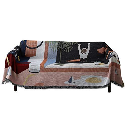Nati Manta para Sofá con Borlas, Manta Colcha Multiusos para Sofá, Tejido de Punto Manta Suave para Sofá Cama Cubresofa Cubrecama con Patrones Hermosas Decoración para Hogar #2 L 130 * 160cm