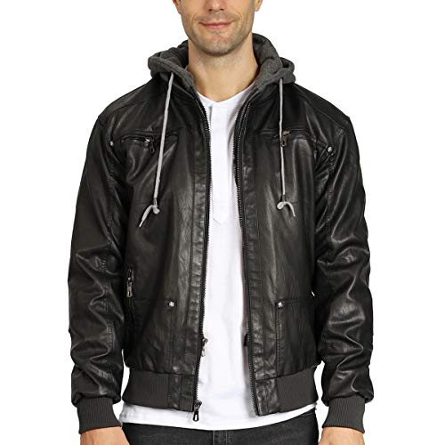 WULFUL Men's Casual Faux Leather Jacket with Removable Hood Pu Winter Outwear Black