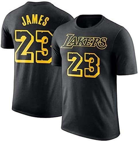 Hyzb Lakers Kobe 1996-2016 Retired Commemorative T-Shirt Kobe Baumwolle 24.08 Basketball Aussehen Kleid Kurzarm-Trikots (Color : Black 0, Size : Large)