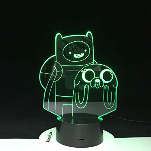 Wfmhra 3D LED Luz de Noche Lámpara de Escritorio de Mesa de Dibujos Animados Niños Noche Lampara Cambiar Dormitorio Decoración del hogar Niños