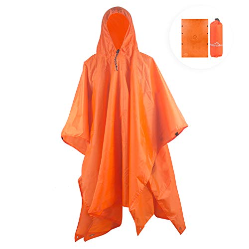 Hikevalley Rain Poncho Waterproof Lightweight 3 in 1 Raincoat Blanket with Hood
