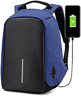 Hasmx Water Resistant Laptop Backpack with USB Charging Port,Invisible Business Travel Backpack Anti Theft Lock, Laptop Backpackfor Less Than 15.6 Travel Bag inch Laptop (Blue)