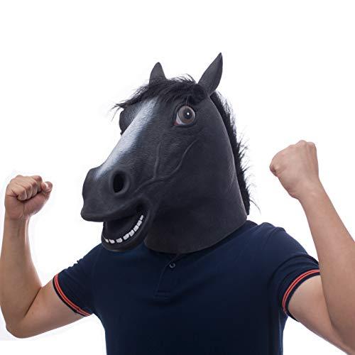 molezu Ltex mscaras Negro Caballo Cabeza Animal para Super Creepy Halloween Fiesta Disfraz Adulto