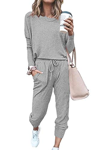 Mosucoirl Women's Solid Two Piece Outfit Long Sleeve Crewneck Pullover Tops and Long Pants Sweatsuits Tracksuits(Gray,Medium)