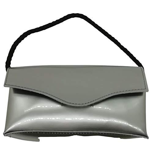 Lucy Shop Bolso artesanal de piel auténtica modelo Canaria – Estuche de maquillaje de cuero – Bolso cosmético – Organizador bolso – Estuche gafas (gris espejo) – Fabricado en Italia