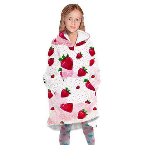 Sudadera con Capucha para Niños,Invierno Hoodie Blanket Doble Capa Grande Manta Súper Suave Mullido de Algodón y Forro Polar Pullover Calentita para Adolescentes(Color:A)