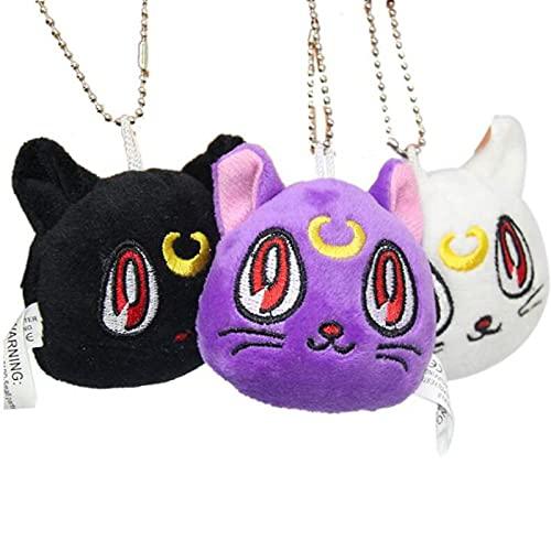 3 Uds Anime Sailor Moon 14 * 14Cm Gato Negro Peluche Muñeco De Peluche, Llavero Cosplay Colgante Llavero Llavero