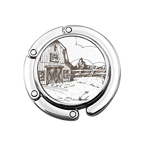 Geldbörse Kleiderbügel Haken Bauernhaus Farm Skizze Scheune Zaun Windmühle Ranch Wiese Wolkenlandschaft Bäume Handtasche Haken Tischtasche
