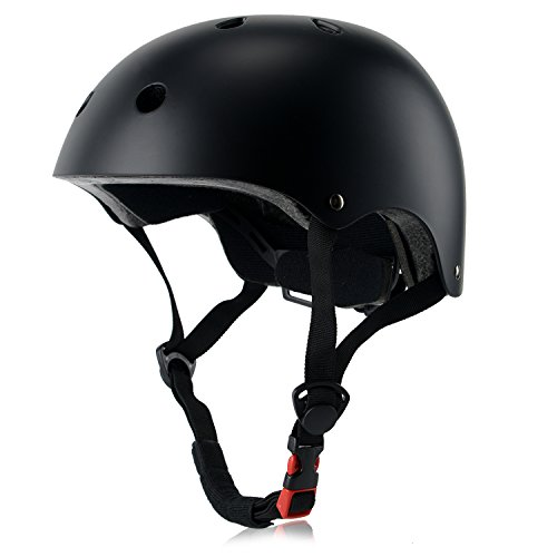 Kids Bike Helmet, Adjustable and Multi-Sport, from Toddler to Youth, 3 Sizes (Black)