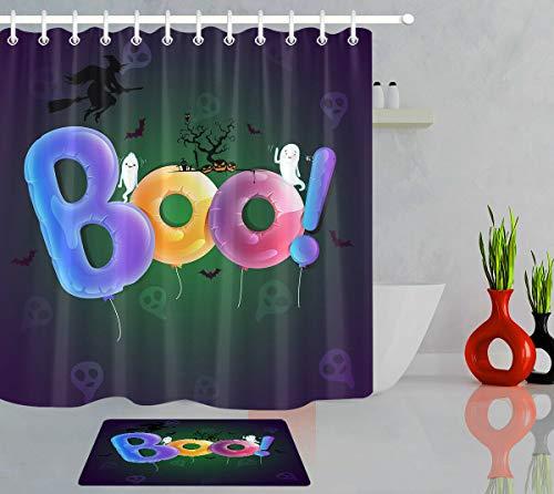 xuelizhou Cartoon Halloween geest heks Boo! Badkamerset douchegordijn grootte: 180X180cm badkamermat grootte: 60X40cm