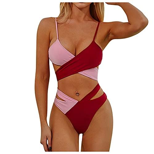 Sanser Bikini para mujer Crossover Ties-Up, traje de baño bicolor, con cordones, push up, bikini de cintura alta, cuello en V, deportivo, dos piezas #01_Vino M