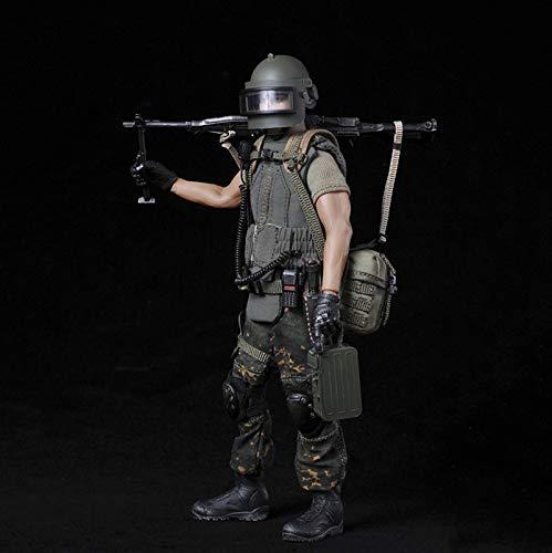 ZH 1/12 Russian Alpha Special Forces Machine Gunner Figuras De Acción Soldado Militar Modelo De Estatua De Juguete Materiales De Protección del Medio Ambiente De PVC con Accesorios Muy Detallados