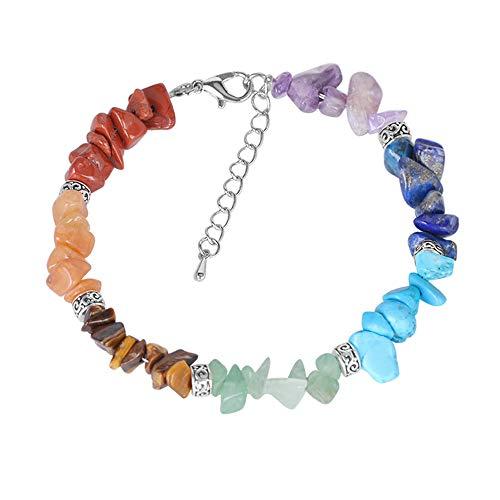 Armbanden voor dames, enkele ring natuurlijke geplette stenen armband, onregelmatige yoga armband extensie ketting handgemaakte sieraden