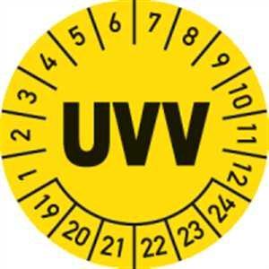 Prüfplaketten UVV 2019-2024 Ø 3 cm 100 Stück