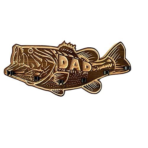 Holz Large Mouth Bass - Angelrutenständer, Kreativer Angelrutenhalter Wandhalterung Holz, Holz Angelrutenhalter, Bass Holzschnitzerei Dekoration, Geschenke für Vatertag und Angelliebhaber