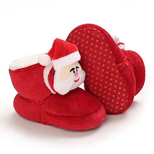 URMAGIC Baby Boys Girls Christmas Shoes with Xmas Socks Headband Gifts Soft Anti-Slip Warm Crib Booties Red
