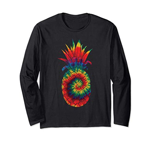 Beautiful Colorful Tie Dye Pineapple Graphic Cool Men Women Long Sleeve T-Shirt
