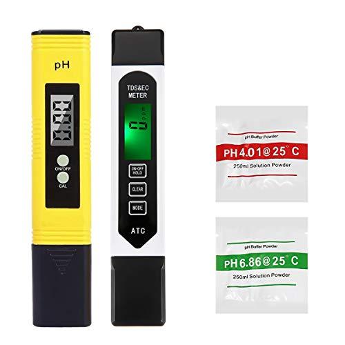 LIUMY 4-en-1 Testeur pH Mètre électronique&TDS Mètre Testeur de qualité de l'Eau TDS pH EC Température, Testeur numérique avec Écran LCD Test pour Piscine, Aquarium
