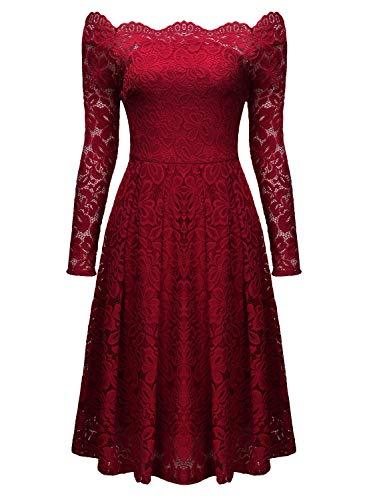 Miusol Damen Vintage 1950er Off Schulter Cocktailkleid Retro Spitzen Schwingen Pinup Rockabilly Kleid - 6