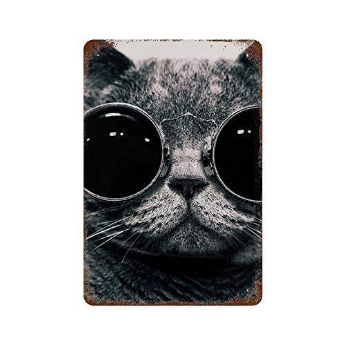 BDGHTDARED Cartel retro de metal para colgar en la pared, 11.8 x 7.9 cm, placa de hierro, para decoración de oficina, café, pub, hombre, cueva, garaje, gatos, gafas de sol