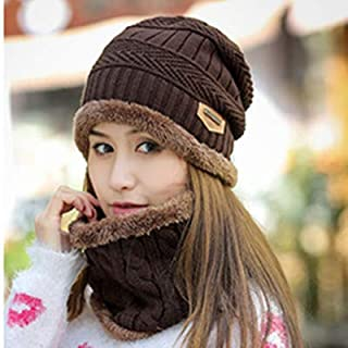 Winter hat Ladies Lazy Knitted Wool hat Round Scarf Head Cold hat Set,Brown