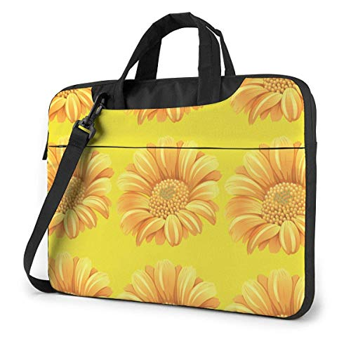 Laptop Bag Protective Notebook Computer Protective Cover Handbag for School College Yellow Vintage Sun-flowers Petal Plant