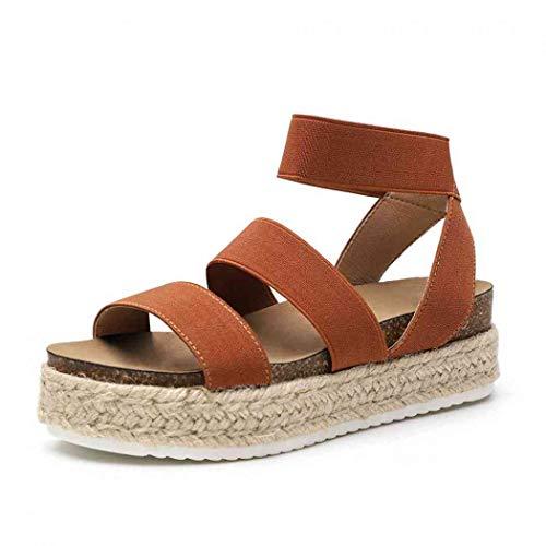 Women\'s Strappy Platform Sandals Open Toe Espadrille Sandal Elastic Strappy Adjustable Strap Platformed Sandals (Brown,12 M US)