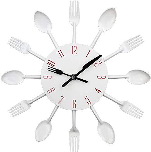 Horloge de cuisine effet miroir avec cuillère, fourchette, autocollant amovible en 3D pour la décoration de la maison  32*32*4CM argent métallique