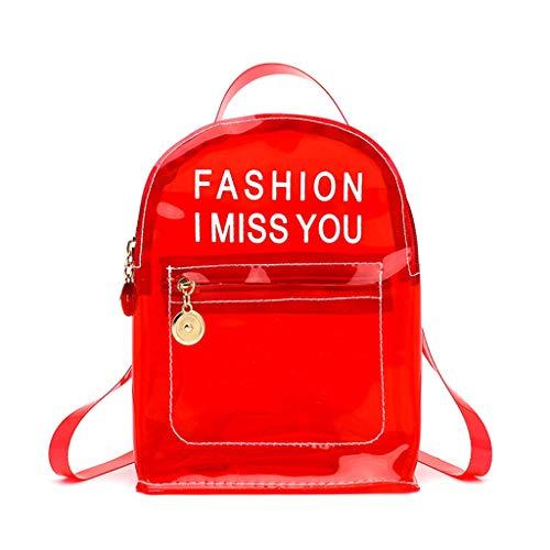 RK-HYTQWR Fashion Transparenter PVC-Rucksack Travel School Book Bag Tagesrucksack für Teenager, Bedruckte Schulter-Gelee-Tasche