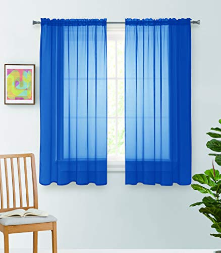 Jody Clarke 2PC Solid Sheer Panel Curtain Drape Long Fully Stitched for Wedding Quinceniera Party décor ( 2PC 54 X 63 Royal Blue )