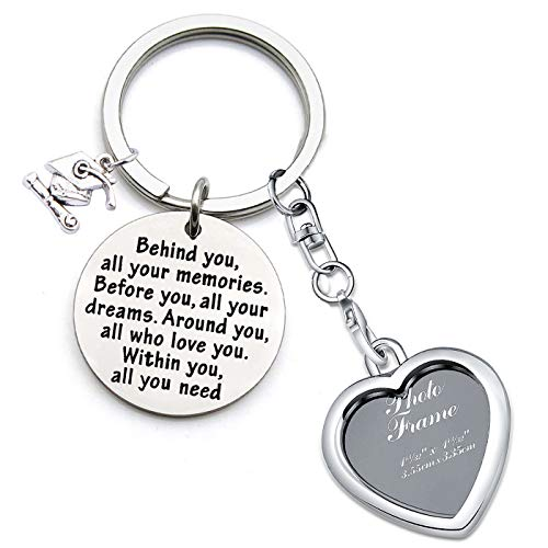 FEELMEM Graduation Gifts Behind You All Memories Before You All Your Dream Graduation Keychain Inspirational Graduates Gifts 2020, 2021 (Photo Frame Keychain)