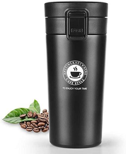 Taza de café para capuchino, taza de viaje, termos, taza de bebida fría y caliente, a prueba de fugas, 380 ml, color negro