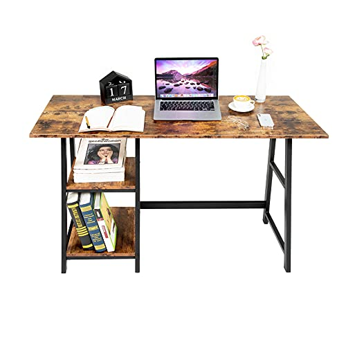 Oak & Tea Computer Desk, Small Home Office Table with Shelves, Compact Workstation, Modern Style Writing Desk for Work, Study, Gaming 120x60x75 cm