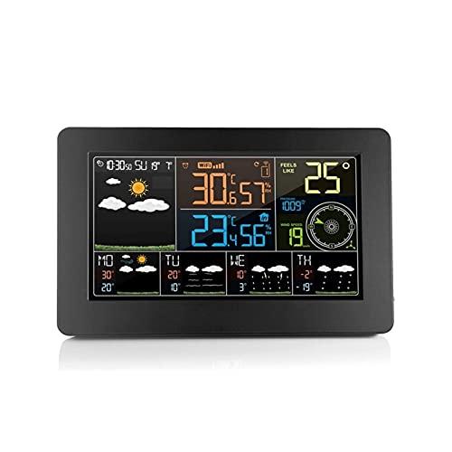 SFLRW Estación meteorológica Inalámbrica Interior Termómetro al aire libre Múltiples sensores, Pantalla de color Estaciones de pronóstico del tiempo digital Termómetro con reloj despertador, Monitor d