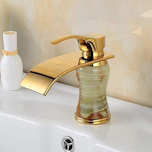HONYGE LXGANG Faucet Latón Mixta Esmeralda Estilo Antiguo Europeo Orificio de Caliente y frío de la Cocina de baño Grifo del Lavabo del Grifo Grifo de Jade Hermosa práctica Baño
