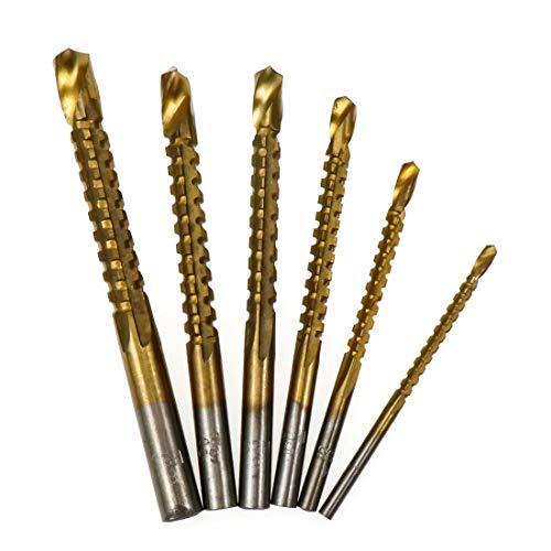 HONJIE 3-8mm Titanium HSS Drill & Saw Bit Set Cutting Carpenter Wood Metal 6 pcs