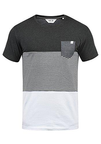 !Solid Malte Herren T-Shirt Kurzarm Shirt Mit Streifen Und Rundhals, Größe:M, Farbe:Dark Grey Melange (8288)