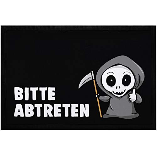 MoonWorks - Felpudo con texto en alemán 'Bitte abtreten Sensemann, divertido juego de palabras antideslizante y lavable, color negro, 60 x 40 cm
