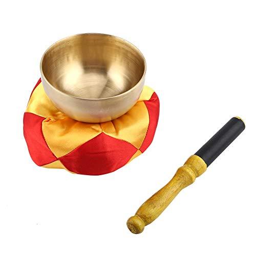 1 juego de cuenco tibetano, conjunto de meditación budista, cuenco de latón, palo con cojín artesanal