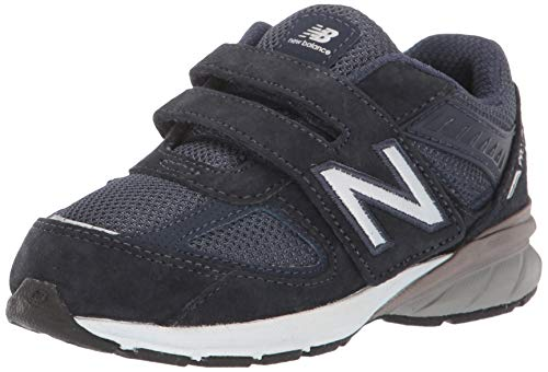 New Balance Made in US 990 V5 Hook and Loop Sneaker, Navy/Navy, 2.5 Unisex Little Kid