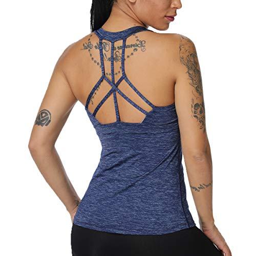 Camiseta deportiva sin mangas para mujer Azul azul S